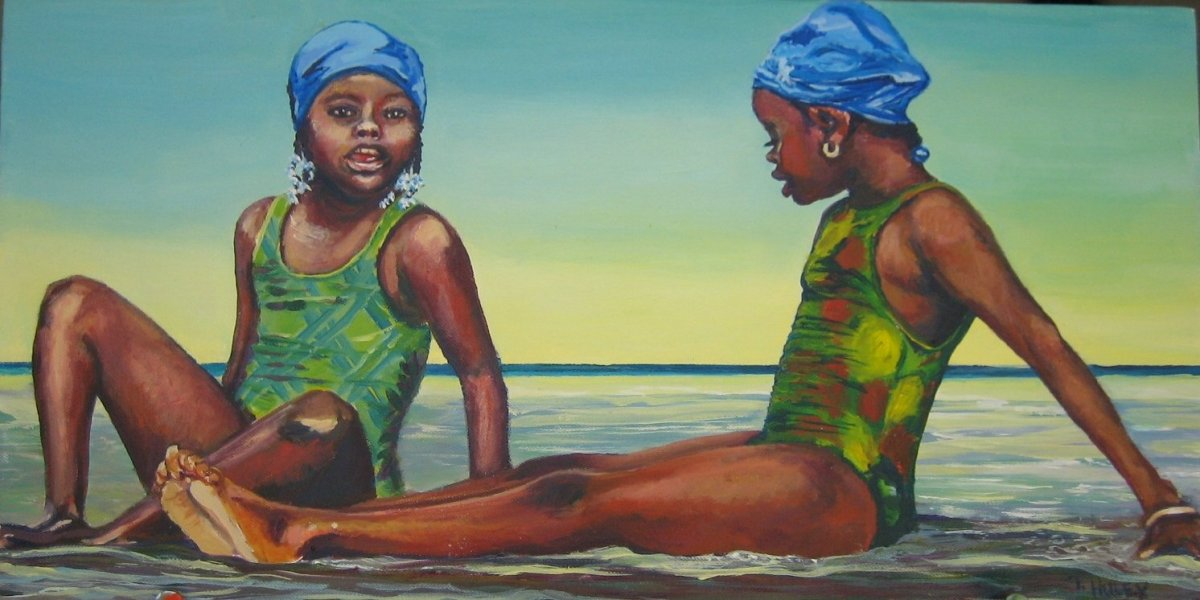 Painting by Tracy Alvey Huley of two girls at the beach in blue bathing caps and green bathing suits.