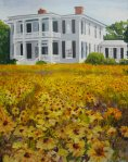 Painting by Tracy Alvey Huley of wild flowers before a large white home on Front Street.