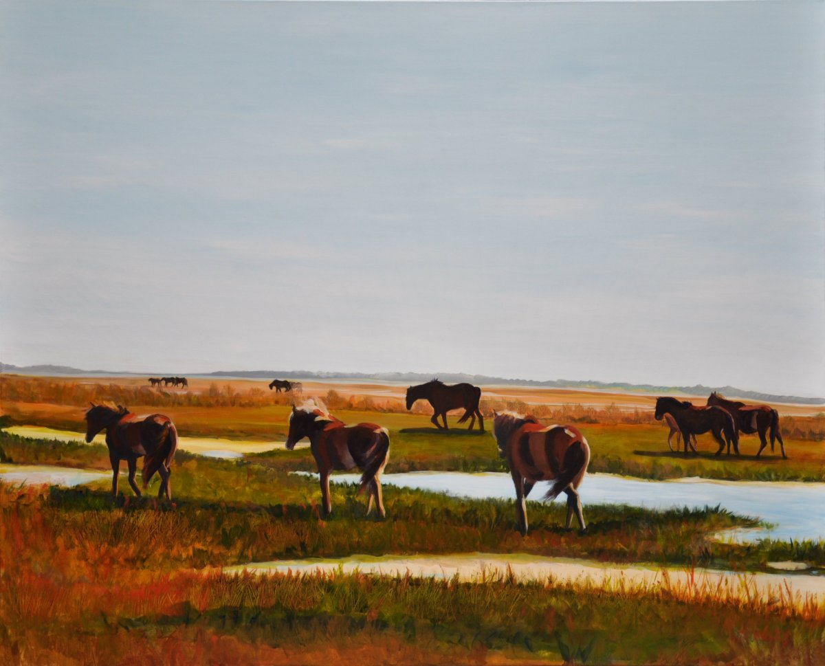Painting by Tracy Alvey Huley of horses wandering east as the sun gently sets in the west.