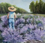 Painting by Tracy Alvey Huley of a person with a straw hat standing in a field of lavender.