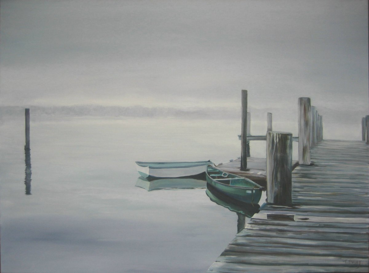 Painting by Tracy Alvey Huley of a canoe and row boat tied to a pier on a flat calm misty day.