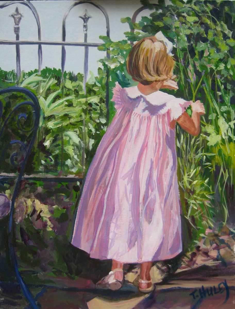 Painting by Tracy ALvey Huley of a little girl in a pink dress dwarfed by the greener in the garden beside her.