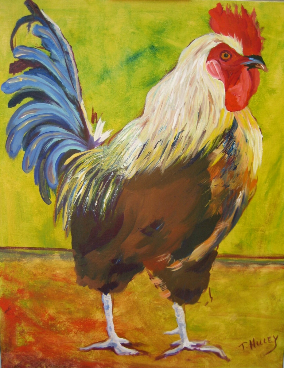 Painting by Tracy Alvey Huley. A rooster with a blue tail struts with a green and orange background behind him.