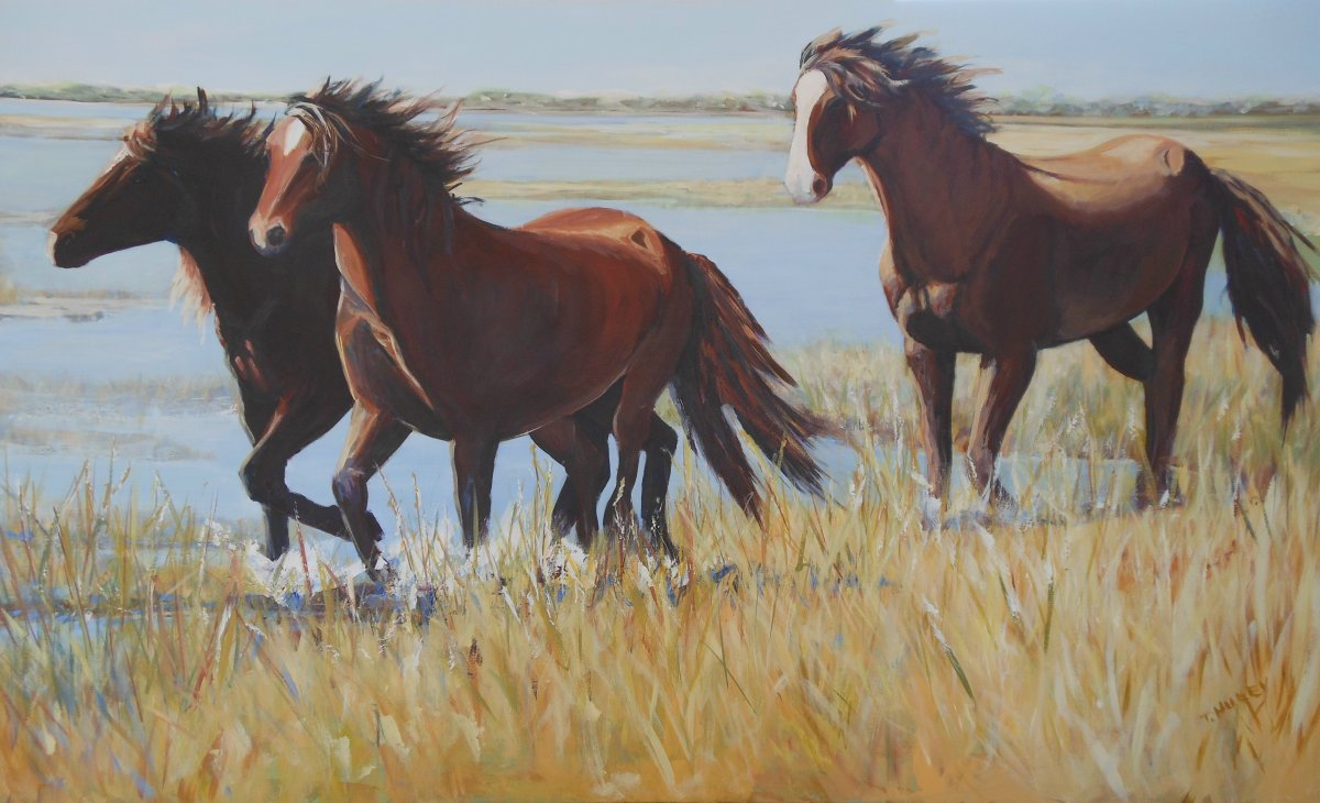 Painting of horses by Tracy Alvey Huley. Three horses race along marshy banks lined by wispy grasses.
